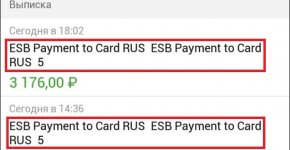 Что значит esb payment to card rus 7
