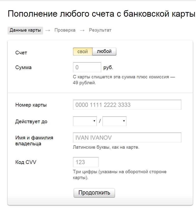 пополнение Яндекс кошелька
