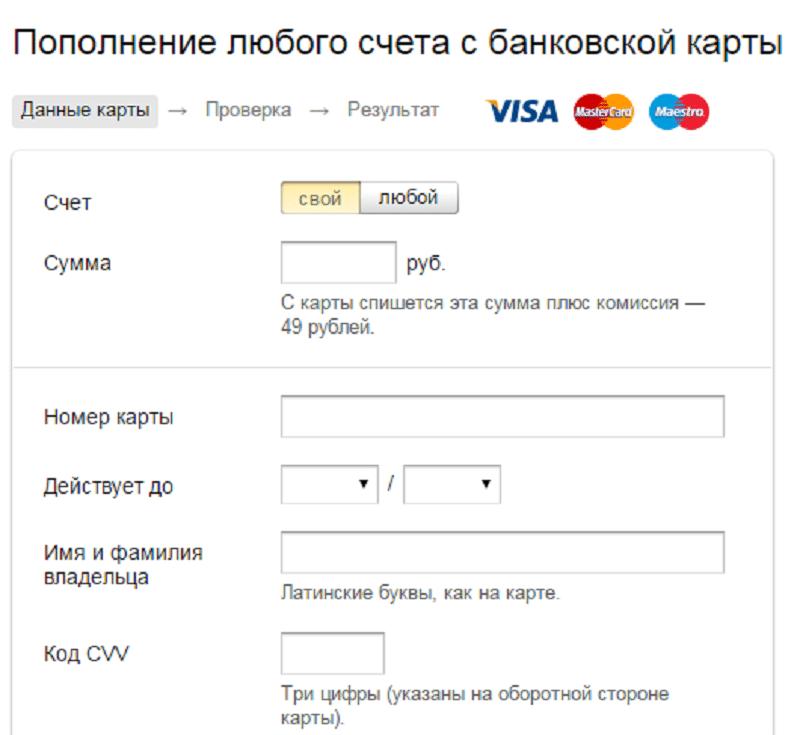 как быстро пополнить Яндекс.Деньги с карты Яндекс.Деньги