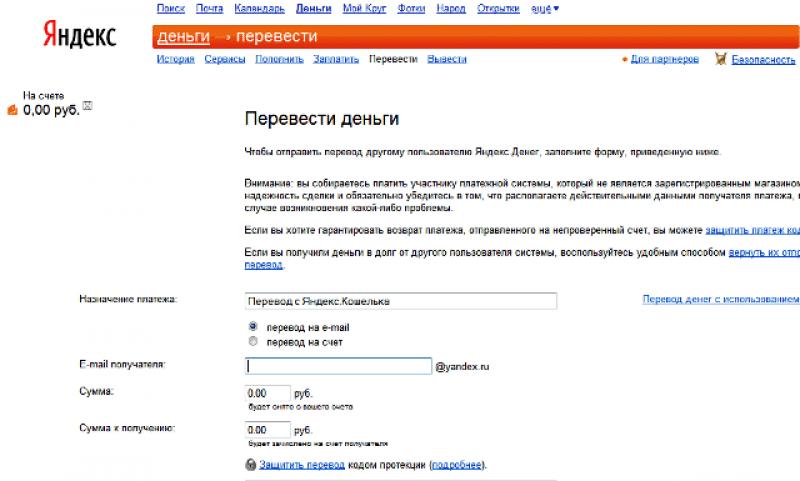комиссия Яндекс деньги за перевод