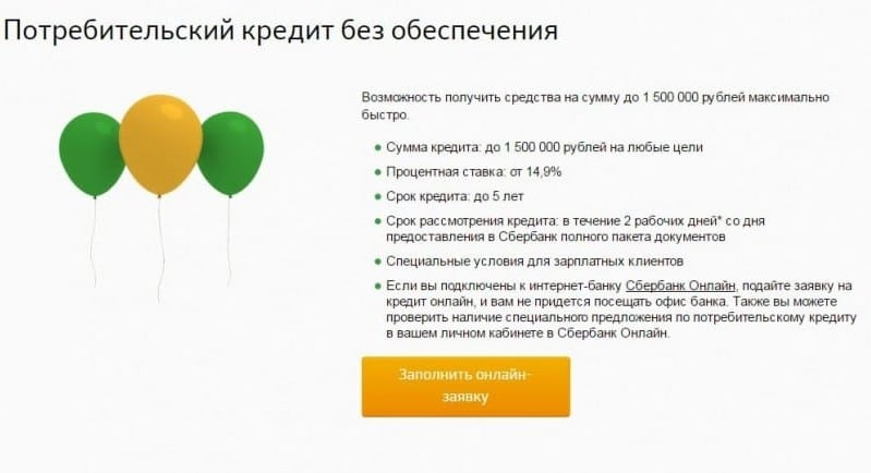 виды кредитов для физических лиц в Сбербанке