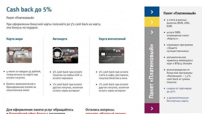платиновая карта ВТБ 24 условия