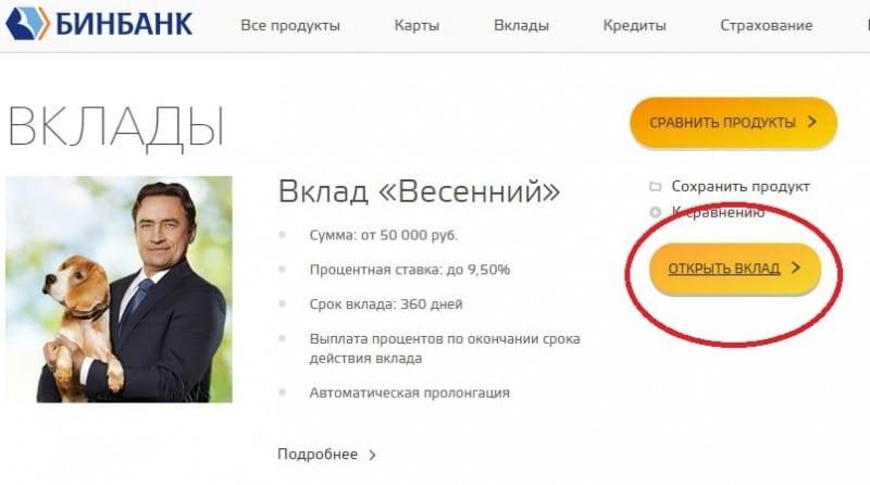 вклады Бинбанк физических лиц