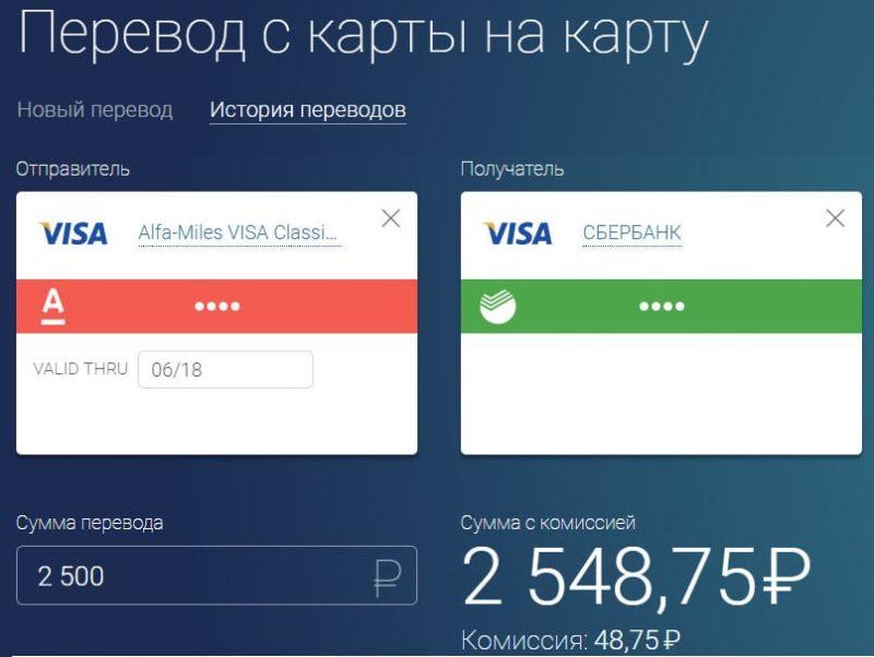 перевести деньги с Visa на visa