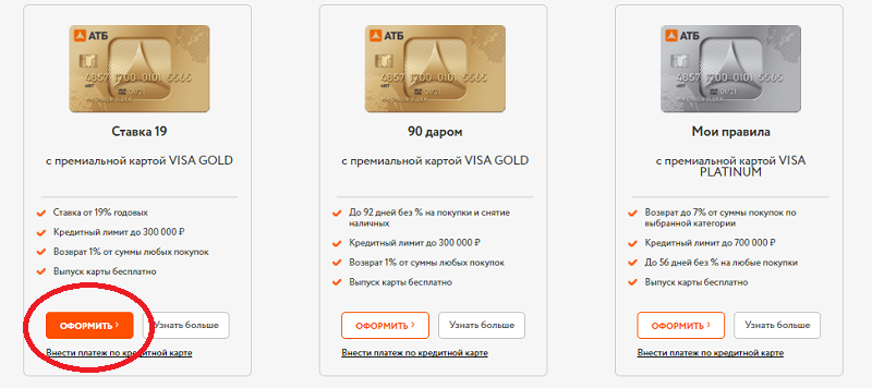 онлайн-заявка на кредитную карту АТБ