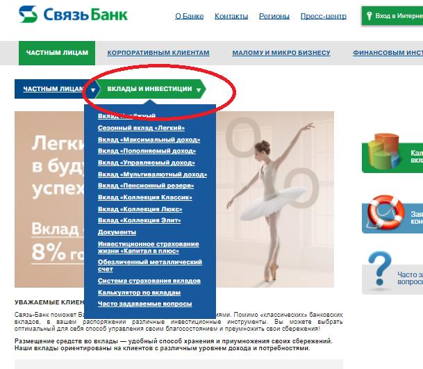 Проценты по вкладам Связь Банка на сегодня