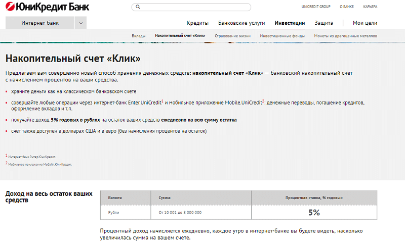 вклады банка Юникредит