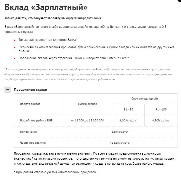 депозиты банка Юникредит