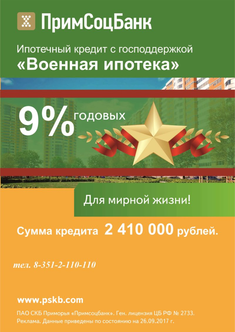 калькулятор ипотеки Примсоцбанка