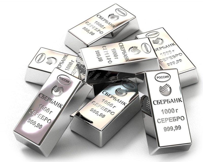 купить серебро в слитках в Сбербанке цена