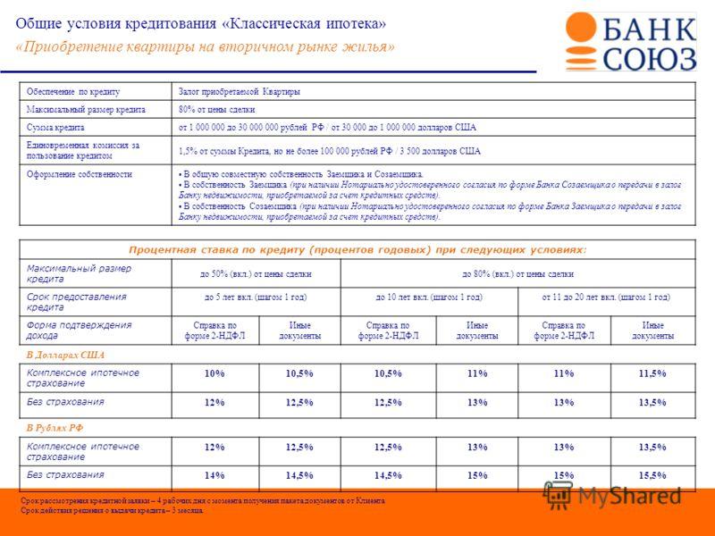 рефинансирование ипотеки в банке Союз