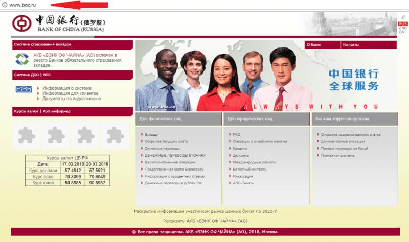 Бэнк оф Чайна официальный сайт