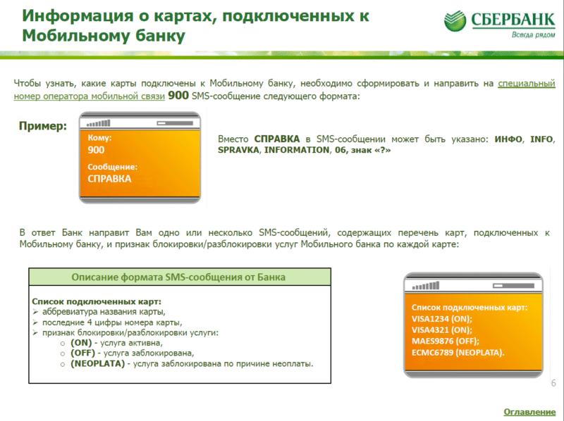 как узнать подключенные услуги на карте Сбербанка