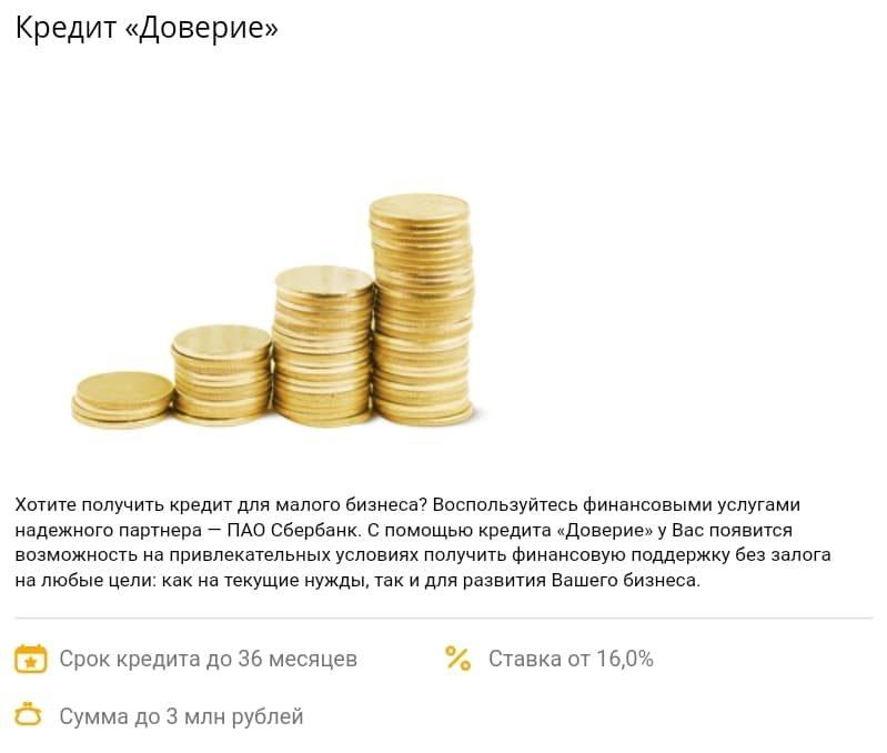 кредит Доверие в Сбербанке для ИП