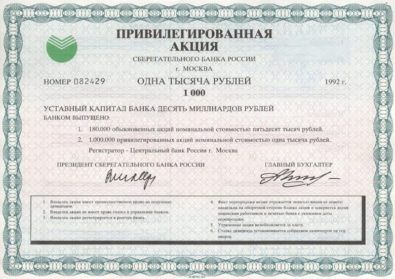 Структура акционерного капитала Сбербанк