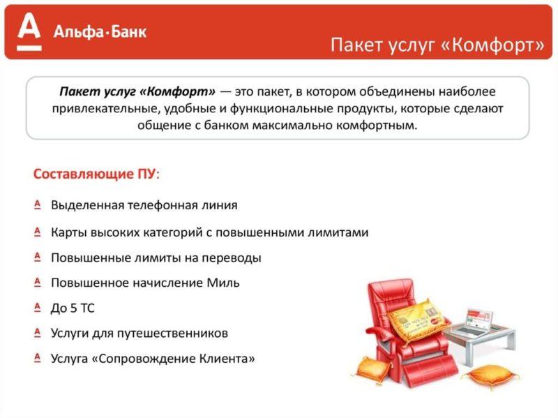 Альфа-Банк пакет услуг Комфорт