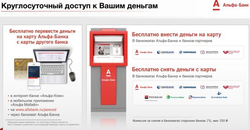 можно ли снять доллары в банкомате Альфа-Банка