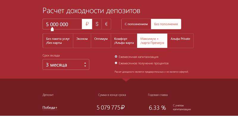 Альфа-Банк: депозит Победа