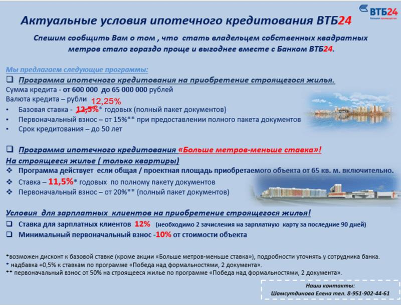 ипотека ВТБ 24 без справки о доходах с первоначальным взносом