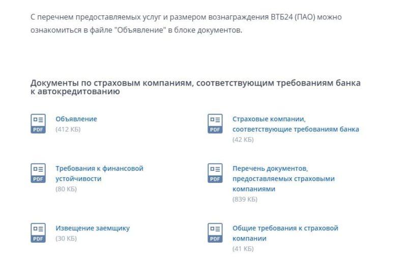 страховые компании-партнеры ВТБ