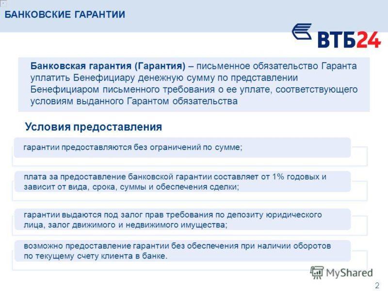 банковская гарантия ВТБ на обеспечение исполнения контракта